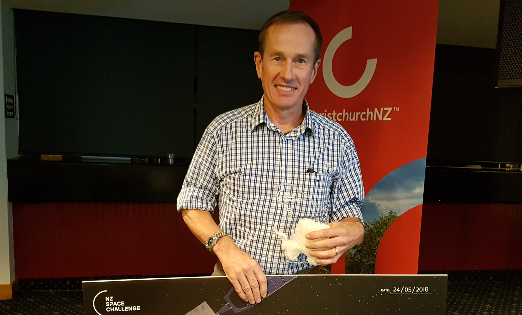 John Ahearn winning the NZ Space Challenge 2018